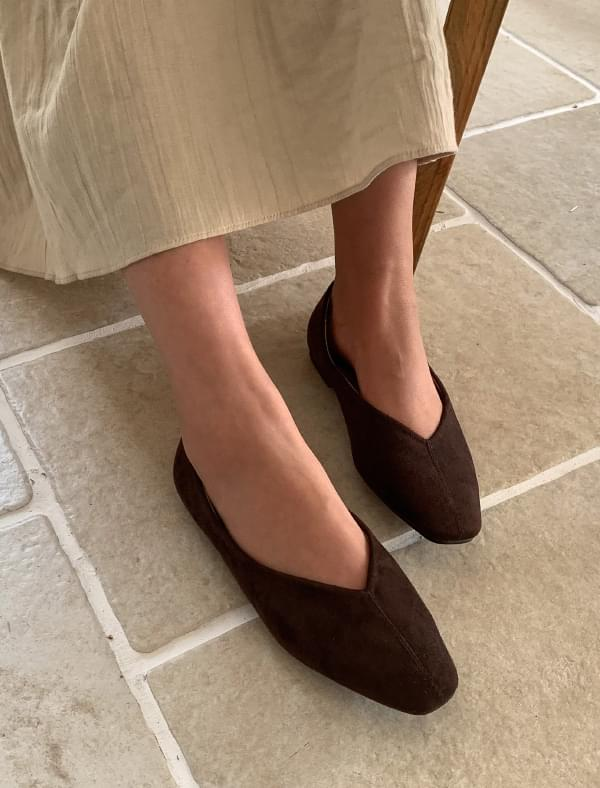 suede slim flat shoes