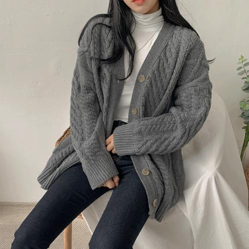 Reversible exhaust box knit cardigan