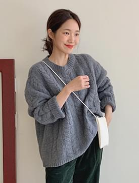 Cable lambs wool knit_C (size : free)