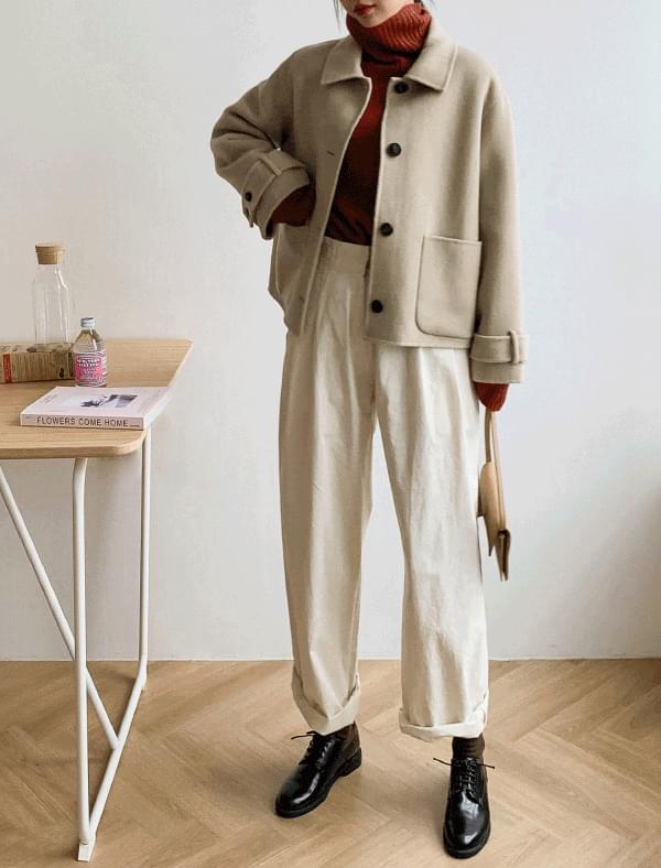 wool strap detail short jacket