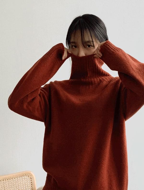 snug wool turtle neck knit