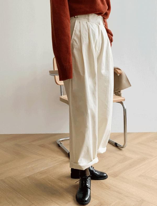 simple high-waist cotton pants