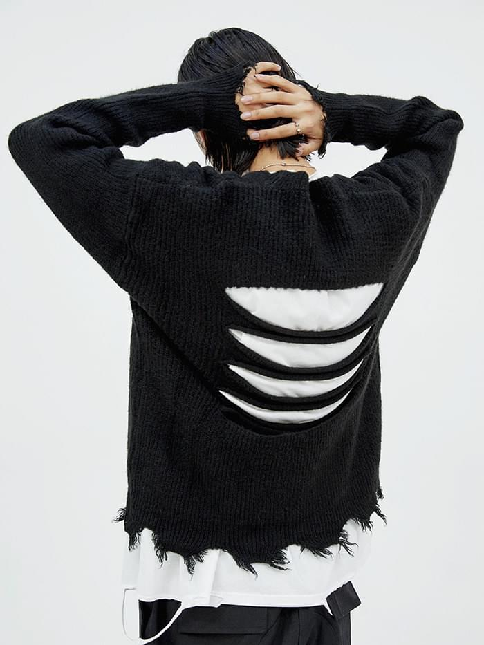 back cutting damage knit - men