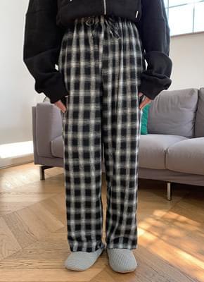 Cowhide Check Banding Pants