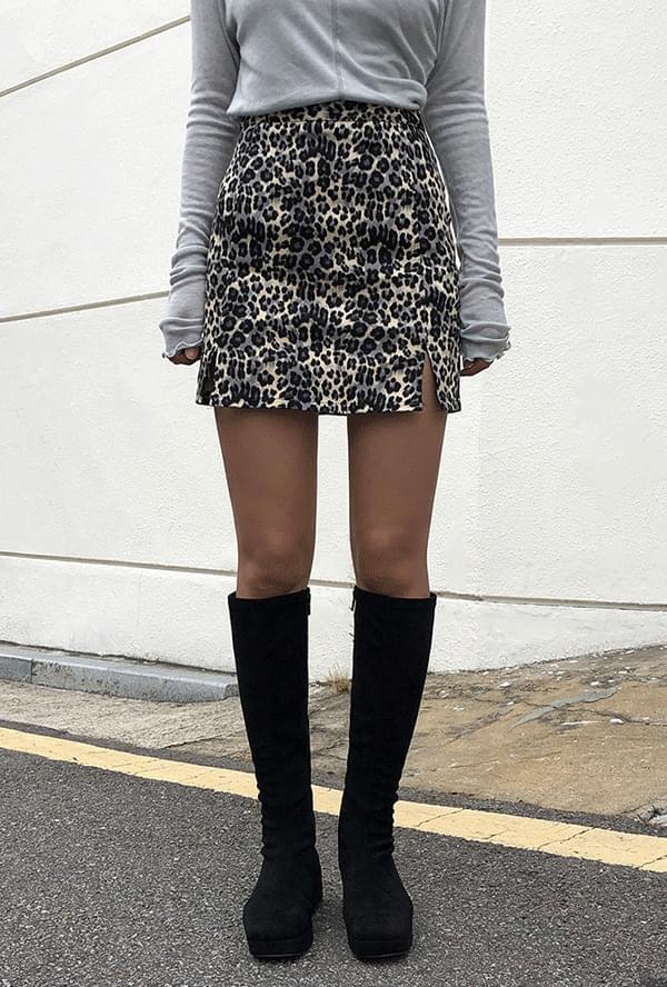 Leopard H-line skirt