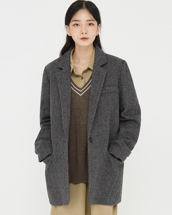 aidou herringbone wool jacket