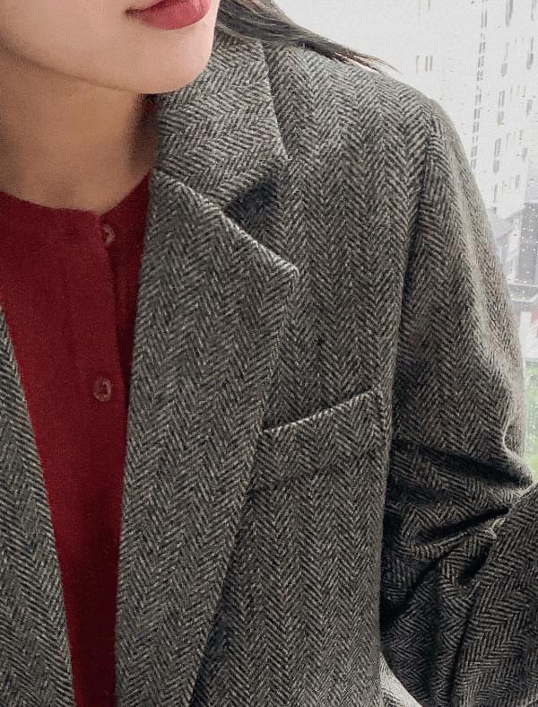 cozy herringbone wool jacket