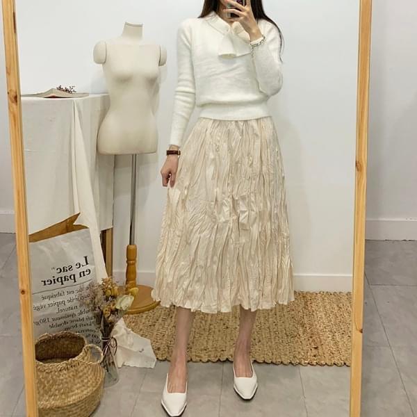 Dream Pleated Banding Long Skirt