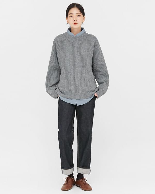 mono drop shoulder wool knit