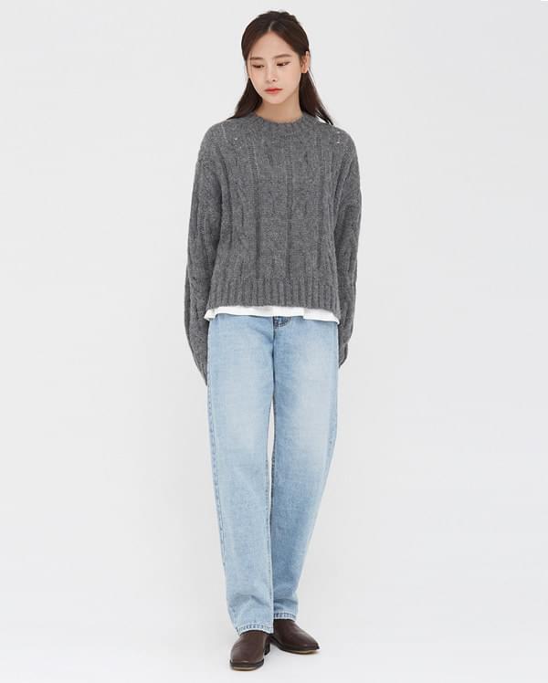 tension straight denim pants (s, m)