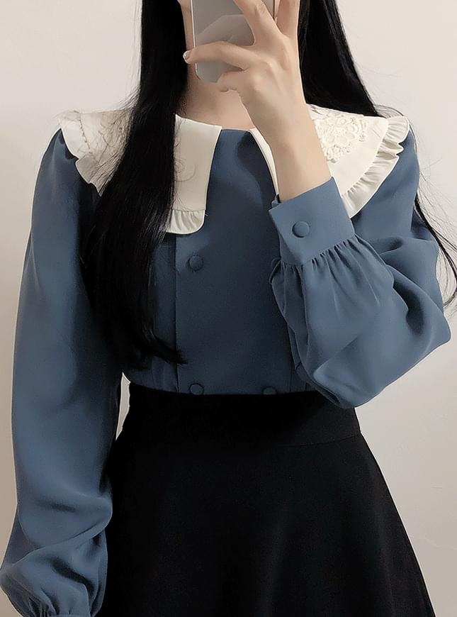 Joey embroidered collar pin tuck blouse 襯衫