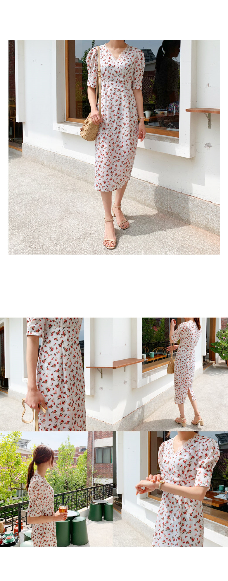 Rose Puff Long Dress