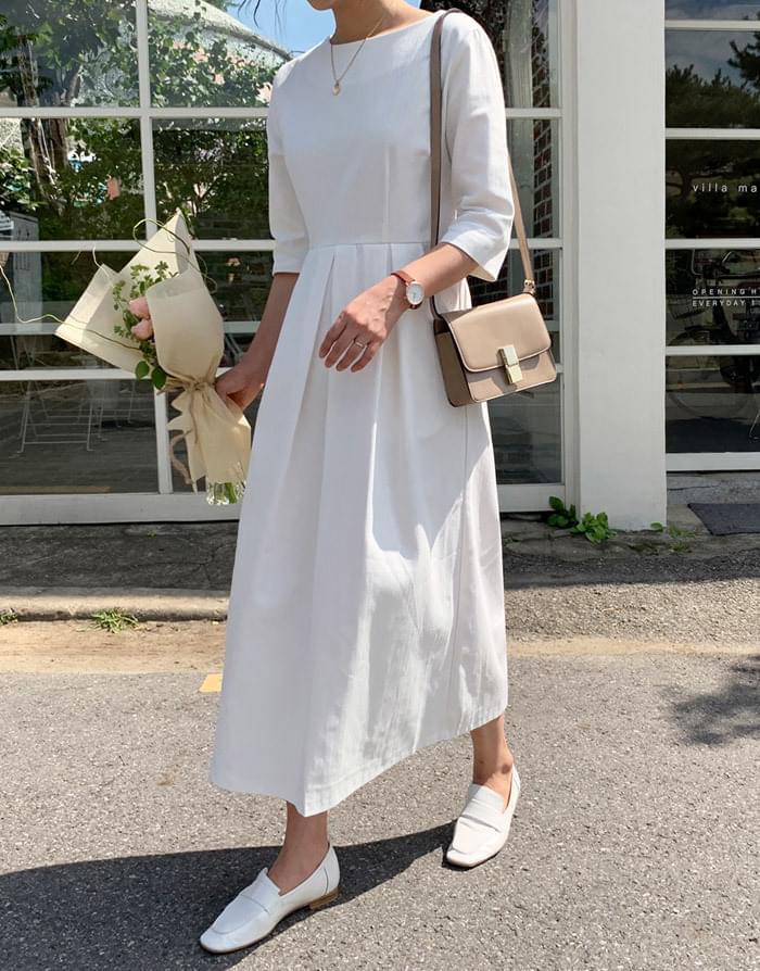 Hepburn Pin Tuck Long Flare Dress