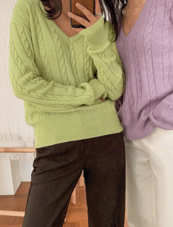 basic v-neck twist wool knit