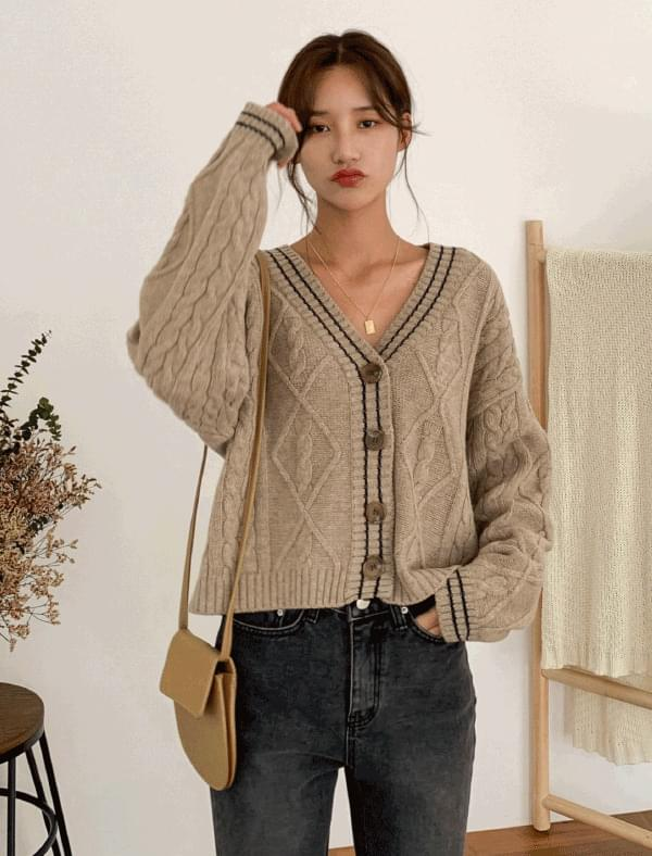 twist v-neck wool cardigan