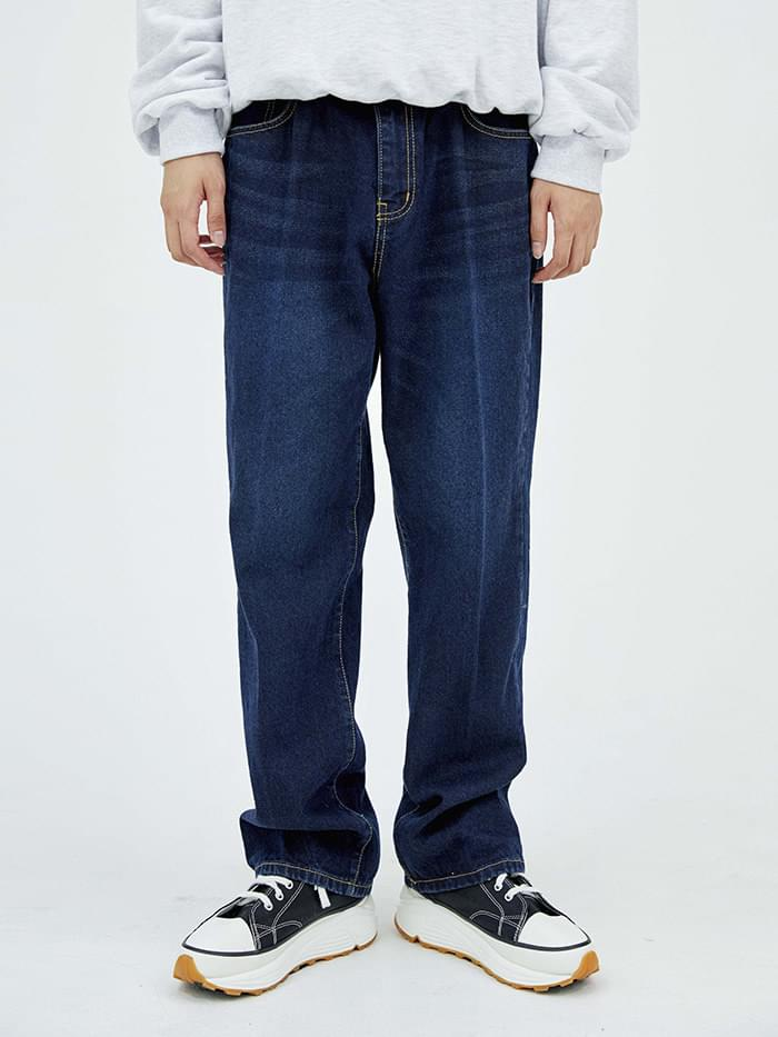 washed semi wide denim pants - men