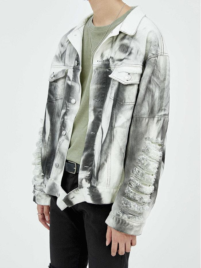 damage squall denim jacket - men