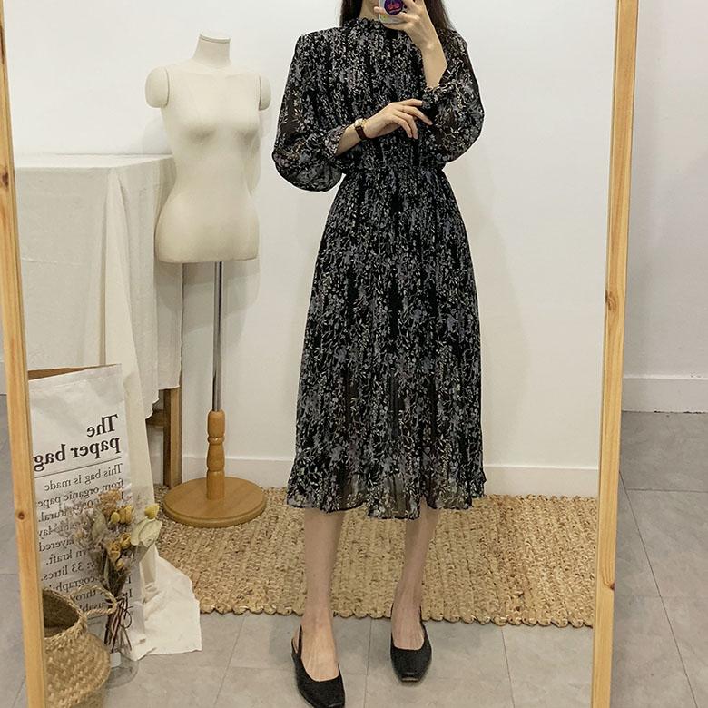 Mine flower pleated long dress