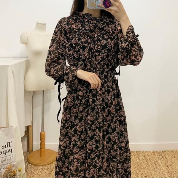 Tase ribbon flower long dress
