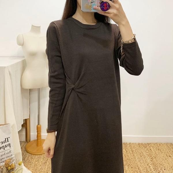 Twisted Knit Long Dress