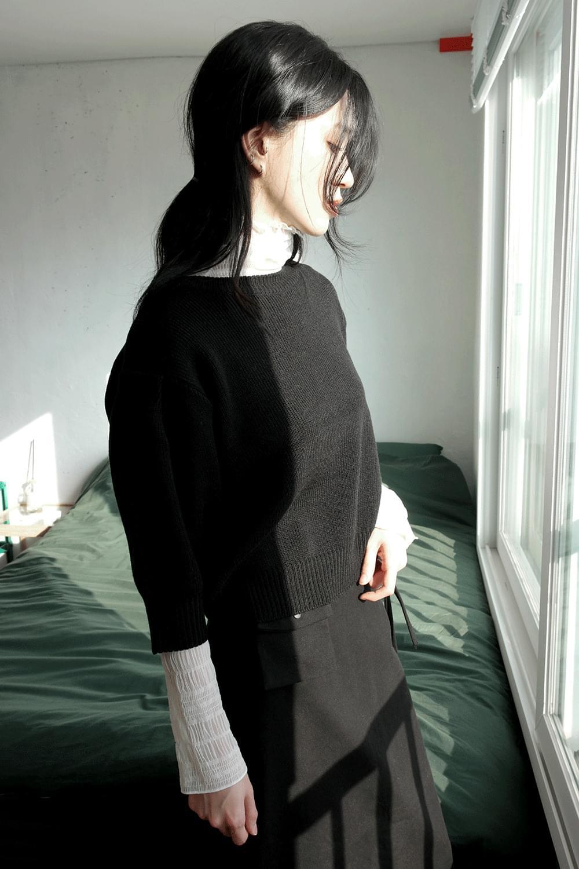 puff detail half sleeve knit