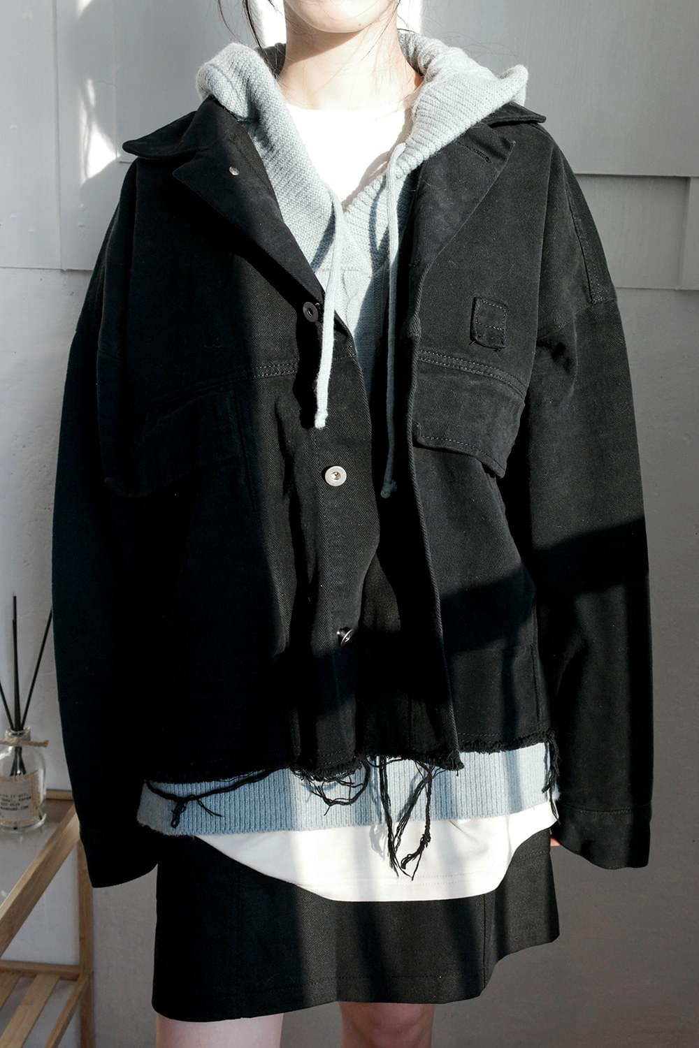 vintage cutting crop jacket (black)
