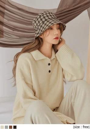 RUMBLE BUTTON COLLAR LOOSE FIT KNIT