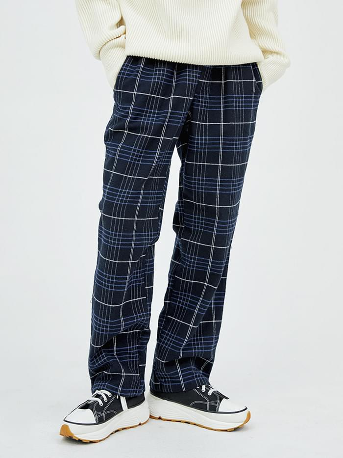 check banding straight pants - men