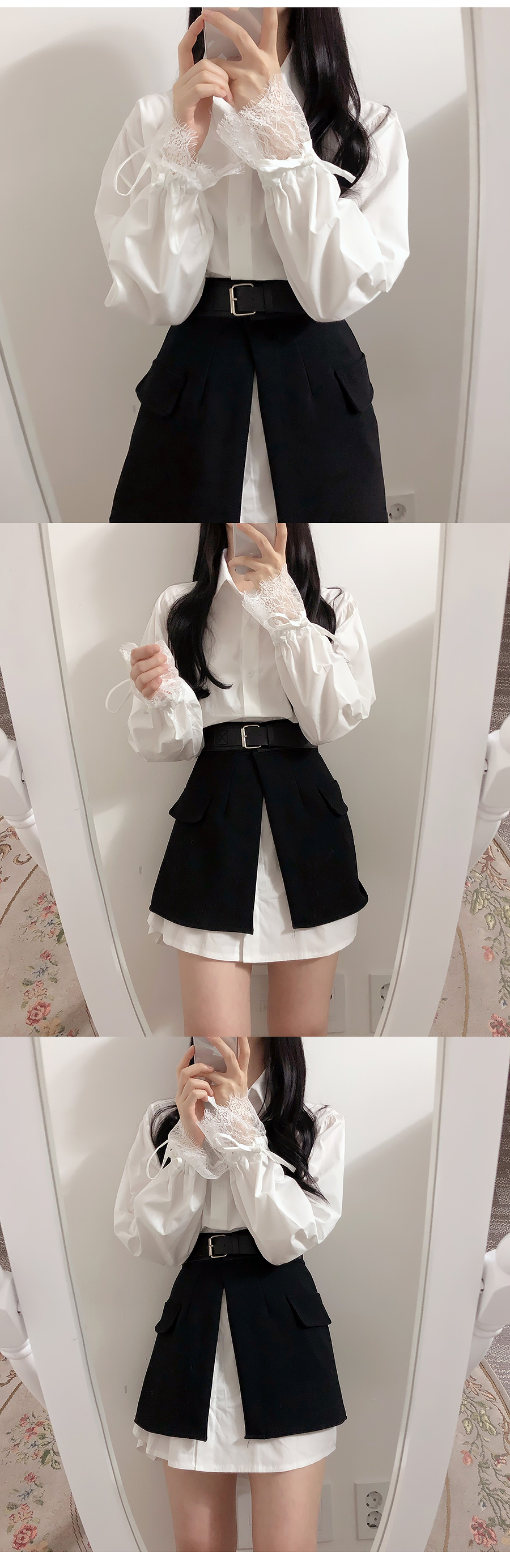 ♥ balloon shirt + buckle skirt dress set