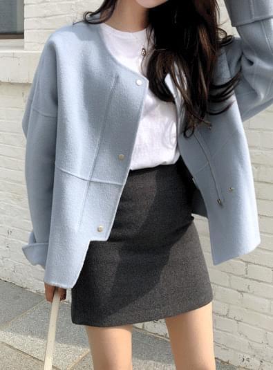 버튼 숏 핸드메이드 coat (*2color)