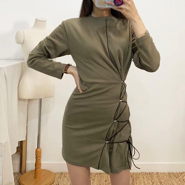 Plum String Long Sleeve Mini Dress