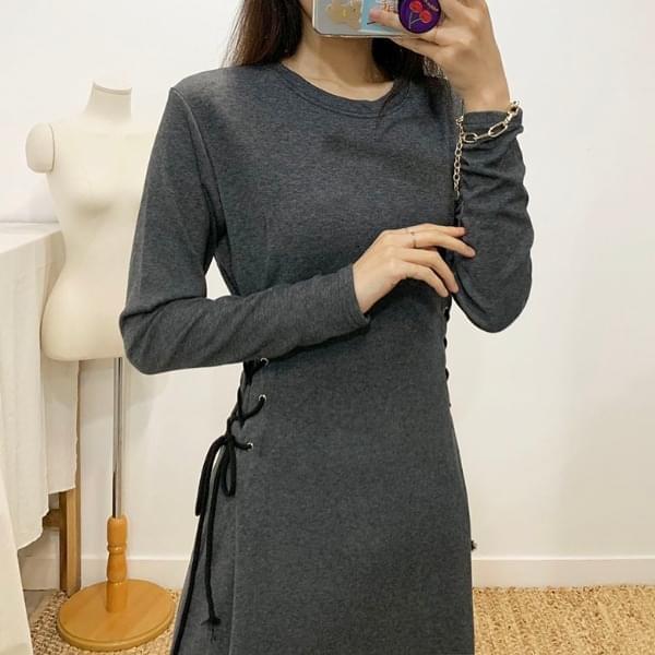 Eyelet String Long Sleeve Long Dress