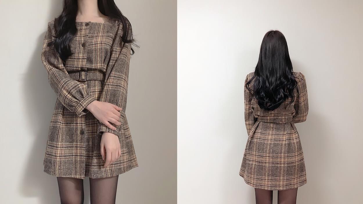 Loving You Check Pin Tuck Mini Dress