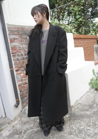 boxy wool double coat 大衣外套