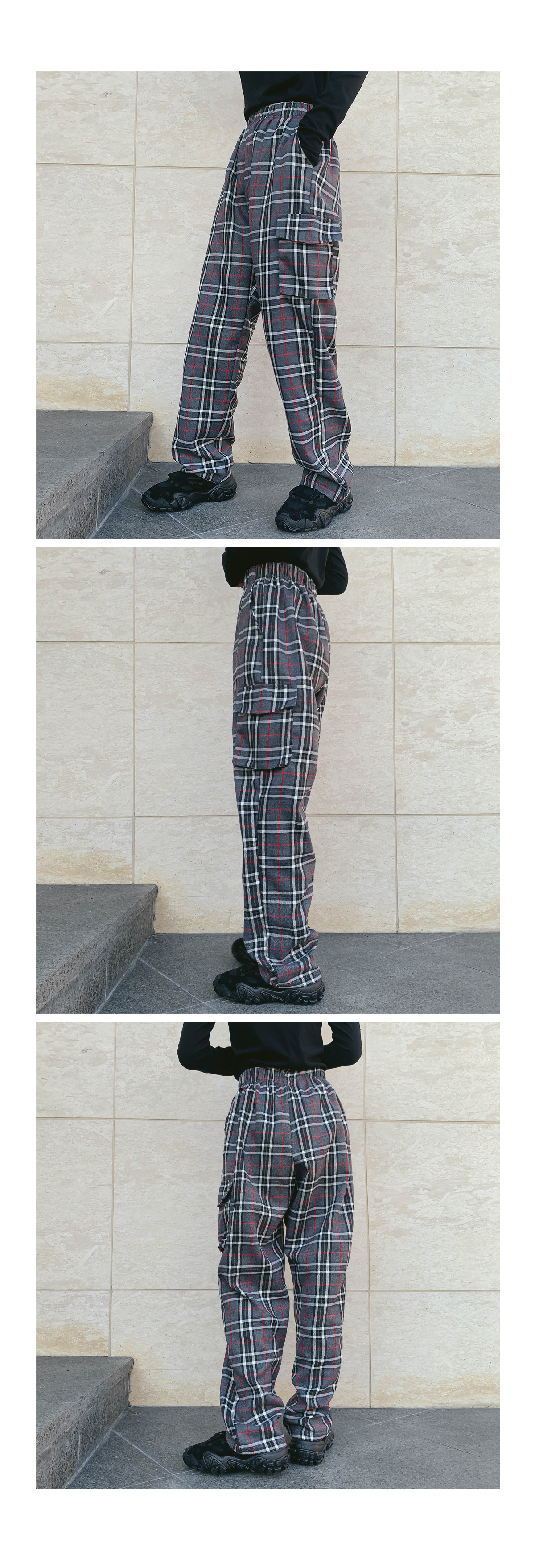 Wide Cargo Check Pants