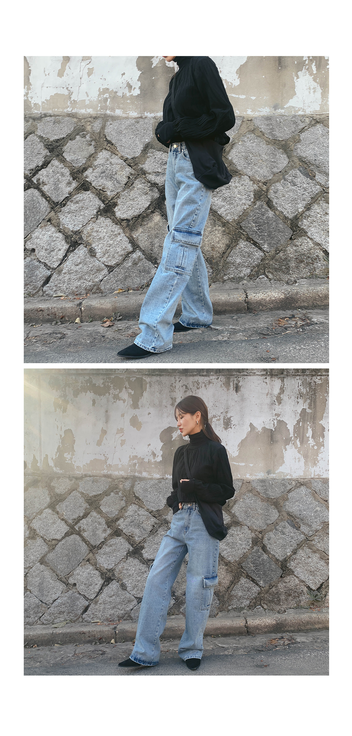 Wide shure denim cargo pants