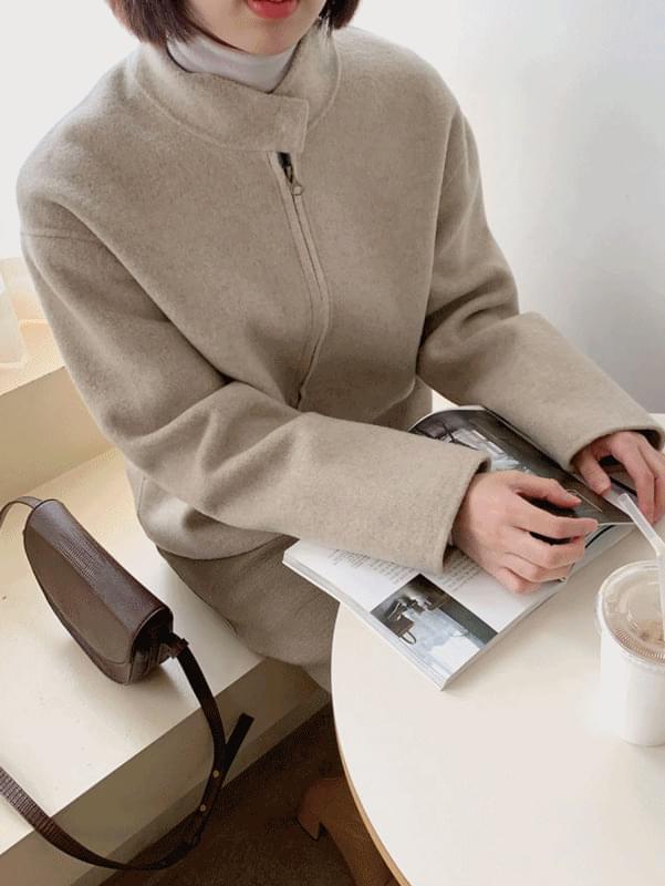 (H.M) 지퍼 숏 핸드 코트