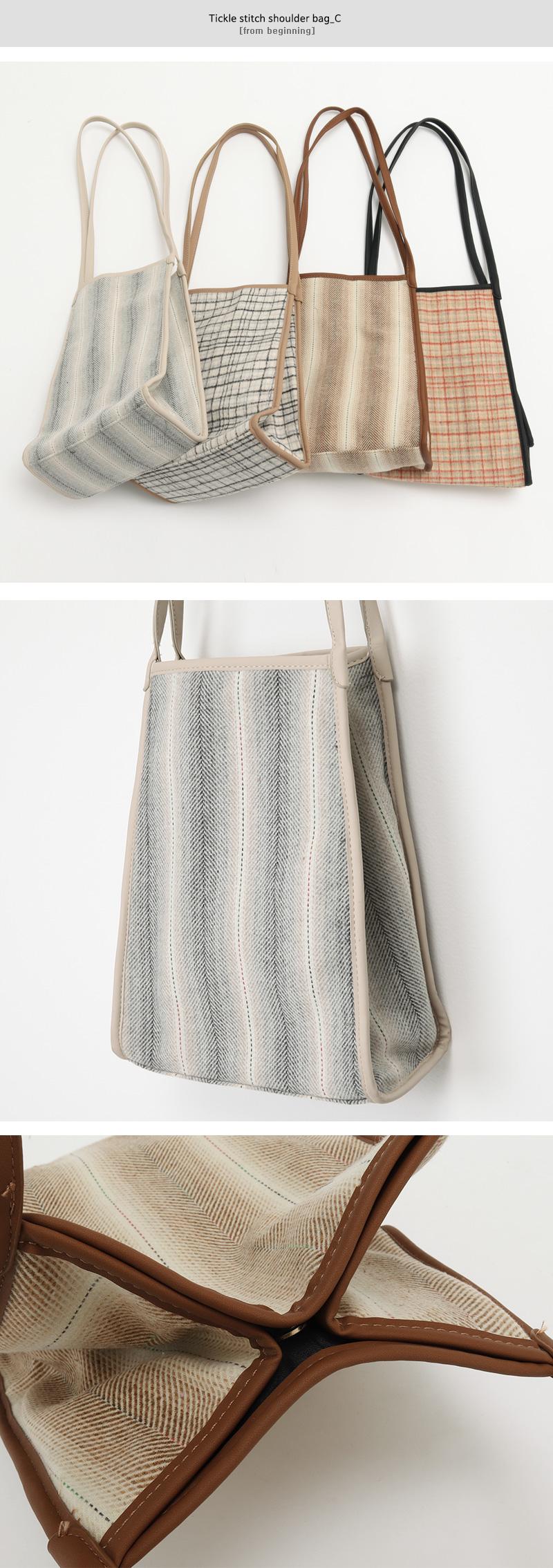 Tickle stitch shoulder bag_C