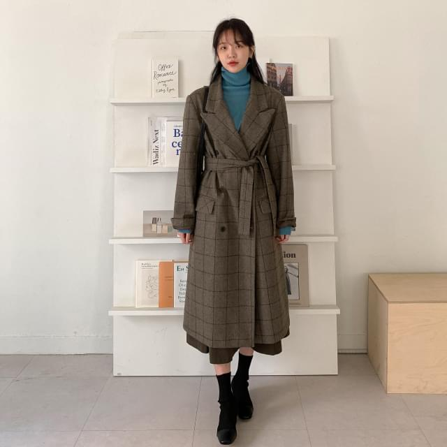 Classic Check Trim Wool Coat-ct