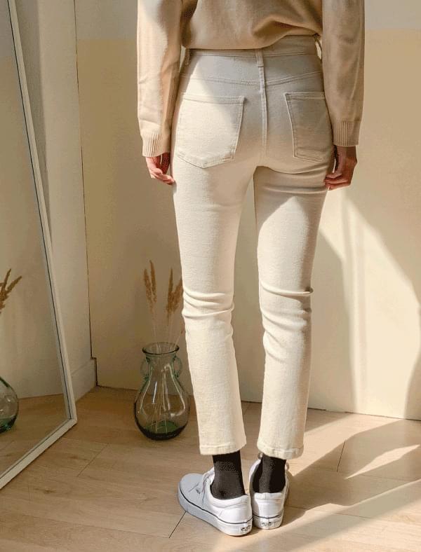 Half-high slim span cotton pants