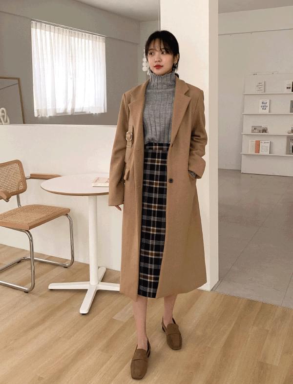 Daily slit single wool coat