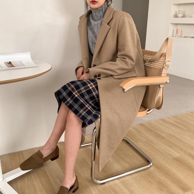 Daily trim single wool coat