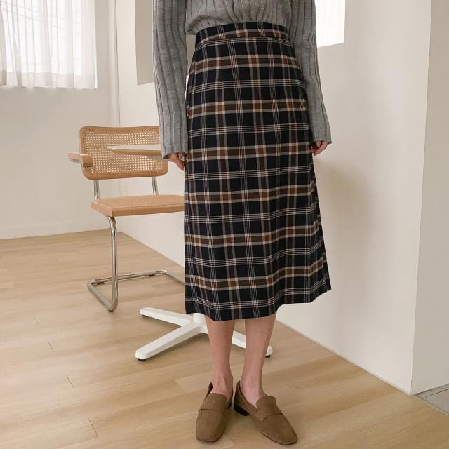 Vintage banding check long skirt