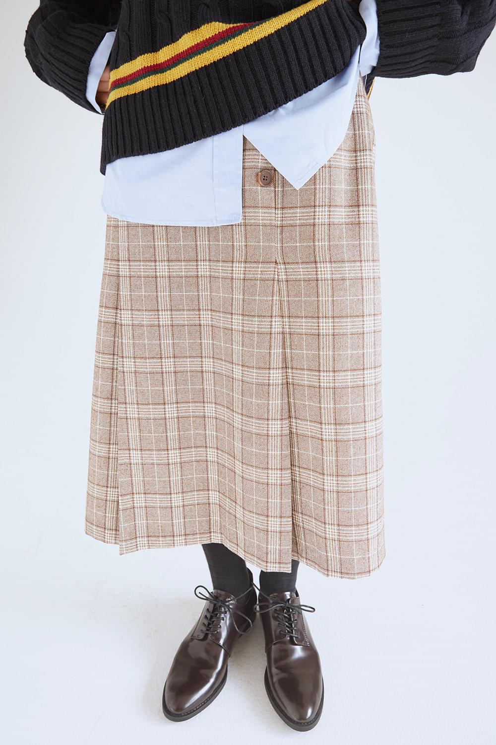glen check midi skirts (2colors)