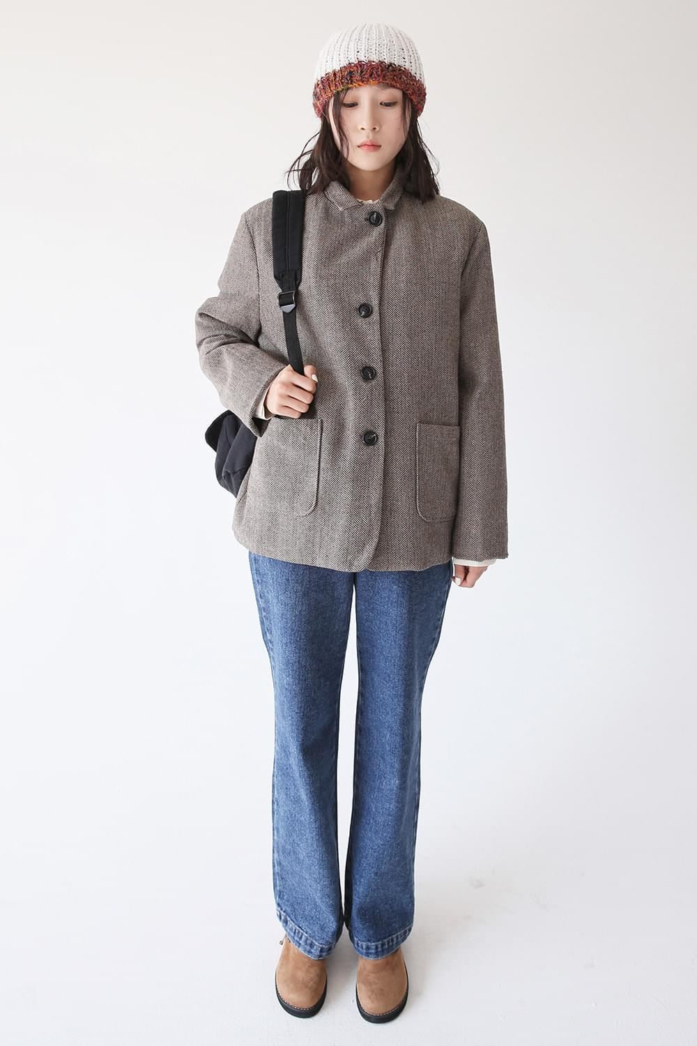 herringbone simple jacket (brown)
