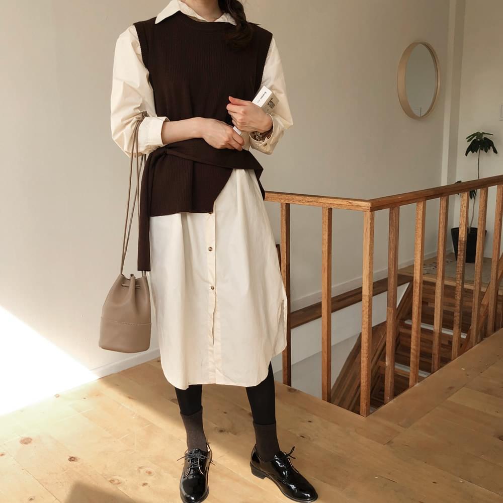 Fondue knit shirt dress