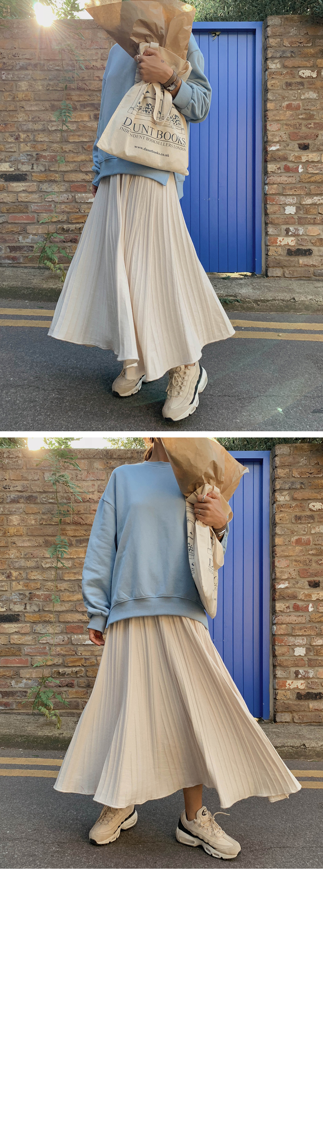 Dove Pleated Knit Skirt