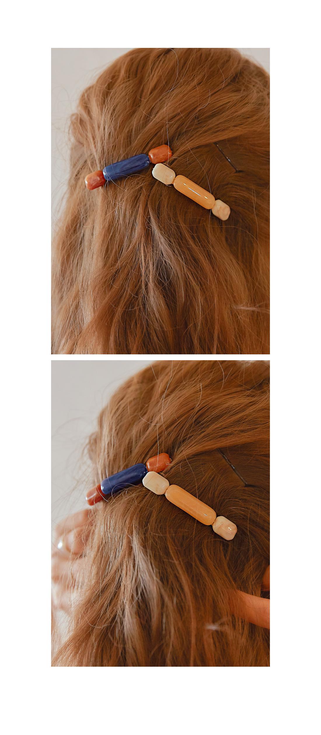 IRIS MARBLING SQUARE HAIR PIN