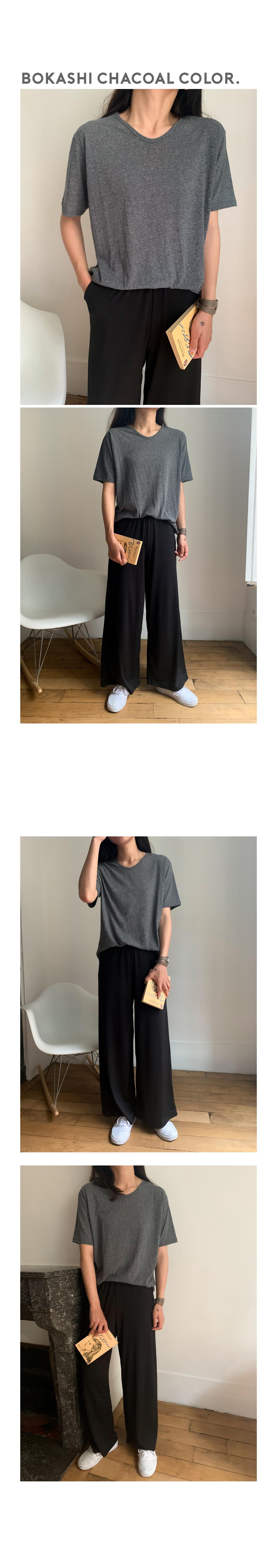 PBP. Summer Bokashi U-neck short-sleeved tee