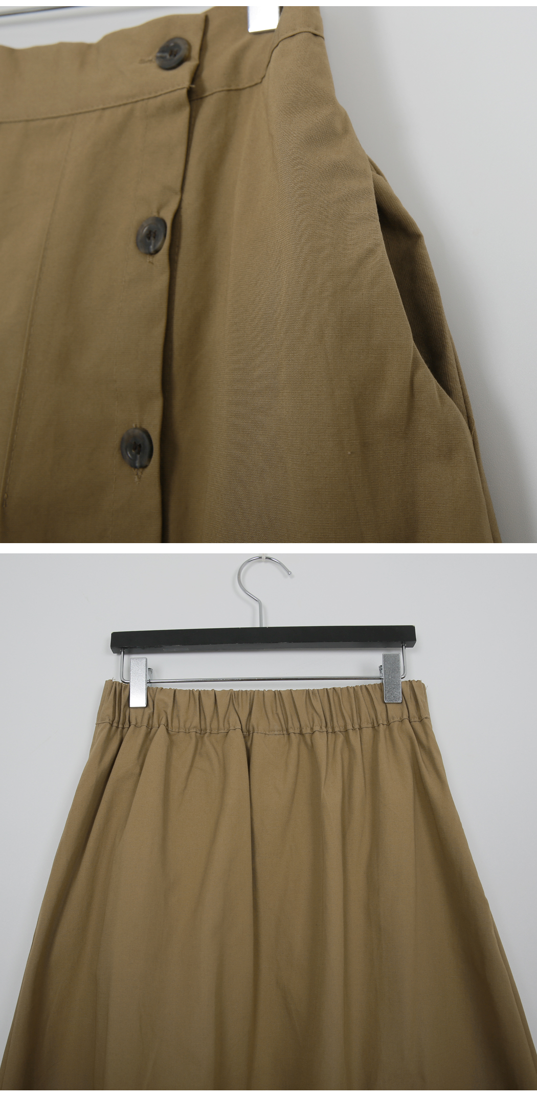 Side button pleated skirt